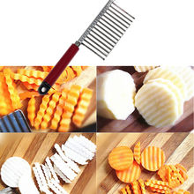 stainless steel plastic handle kitchen gadget vegetable fruit cutting peeler cooking tool accessories potato wavy edged knife(China)
