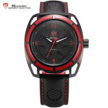 Thresher Shark Sport Watch Red Hollow Lug Case 3D Dial Black Leather Band Luminous Hands Quartz Men's Relogio Masculino / SH472(China)