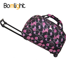 Bomlight Vintage Portable Travel Bag Carry On Luggage Men Women Folding Rolling Luggage Suitcase With Wheels Women's Handbag(China)