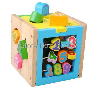 Child wooden intelligence toys digital geometry shape box Free shipping<br><br>Aliexpress