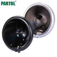 "Partol Black Chrome 5.75"" Motorcycle Headlight Housing Motorbike Headlamp Lamp Bulb Bucket Assembly For Harley Davidson"