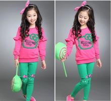 junior girls clothing sets candy color girl tracksuit cartoon hello kitty girls clothes sets baby clothing for girls(China)