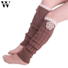 Amazing Fashion Winter Warm Women Crochet Knitted Lace Trim Leg Warmer Boot Socks