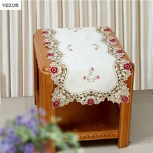 "vezon Hot Selling 16*36"" Elegant European Embroidery Table Runner Satin Embroidered Floral Cutwork Cloth Towel Covers 40*85cm"