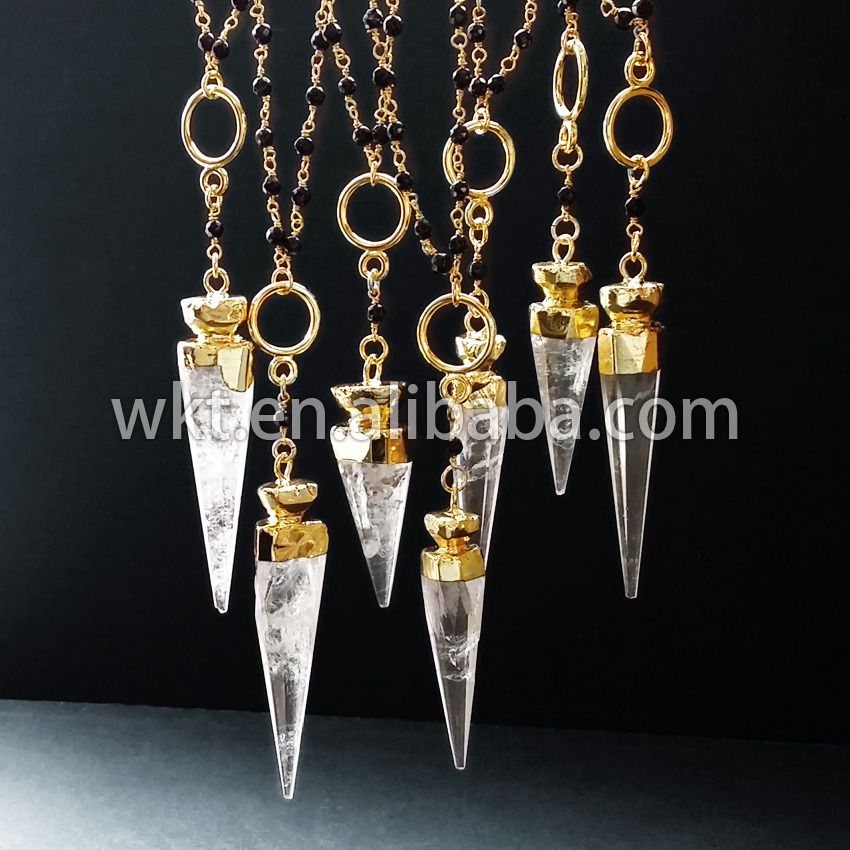 Hotl!Natural white crystal necklace gold trim, shark tooth jewelry necklace WT-N231