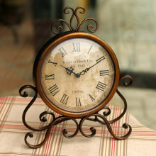 Fashion vintage iron desktop clock with silent clock movement crafts home decoration home watch relogio de mesa horloge 17