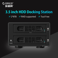 "ORICO Tool-free Aluminum 2 Bay 3.5"" SATA 3.0 to USB3.0&eSATA HDD External Docking Station RAID Function 2bays HDD Case"