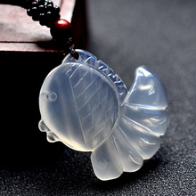 Natural agate Carved goldfish Amulet Lucky pendant beads necklace Fashi Colgantes para hombre(China)