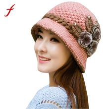 2017 Women's Fashion Hat Autumn Winter Warm Crochet Knitted Flowers Decorated Ears Hat Beanies Baggy Headwear Cap(China)