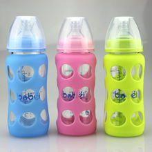 240ml Bobei Elephant Newborn Baby Width Mouth Arc Anti-scald Glass Feeding Bottle with Silicone Case Also As Water Cup(China)