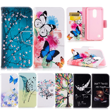 Buy Leather Cases sFor Funda LG K8 2017 case LG K8 2017 case cover Coque butterfly Painted Wallet Flip cell Phone Cases for $3.44 in AliExpress store
