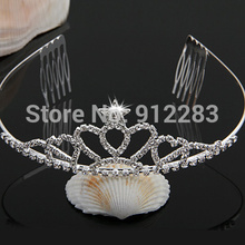 Free shipping 10 pcs Silver Plated Star Crown Crystal Bridal Hair Band Headband Tiara