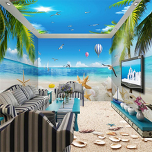 beibehang Beautiful beach starfish coconut papel de parede 3D photo wallpaper for walls 3 d Scenic mural wall papers home decor(China)