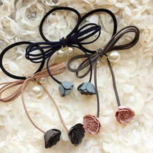 2pcs Korea Hair Accessories Flowers Pearl Butterfly Hair Ties Headband For Women  Gum for Hair Bows Scrunchy Fascinator  4