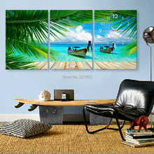 Free Shipping Art Print E-HOME The Sea Ship Clock in Canvas 3pcs wall clock
