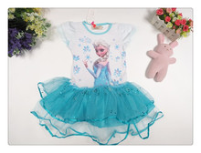 Free shipping 2015 Girl Elsa & Anna Princess childrens dresses summer baby clothing short girls party lace dress