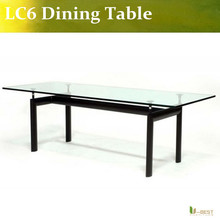 U-BEST high quality Le Corbusier Coffee Table LC6/Rectangle glass table ,famous designer dining table(China)