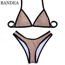 Buy BANDEA 2018 swimwear bikini sexy Brazilian Bikini Halter Summer High Cut Women Swimwear Bikini Set Swimsuit color