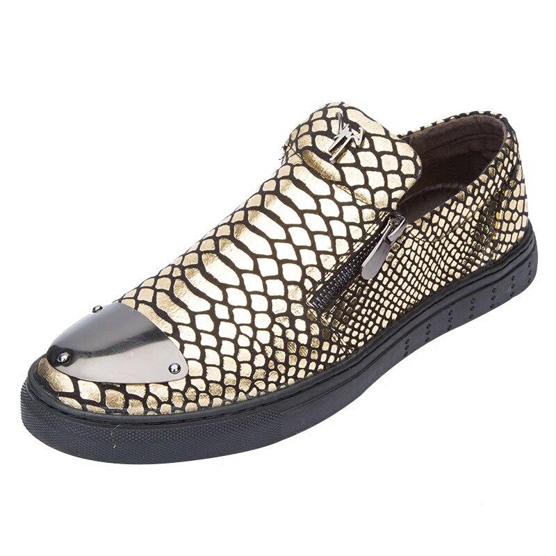 2016 new fashion golden Snakeskin men casual shoes men Comfortable Breathable black flats silver Steel head decoration men shoes<br>