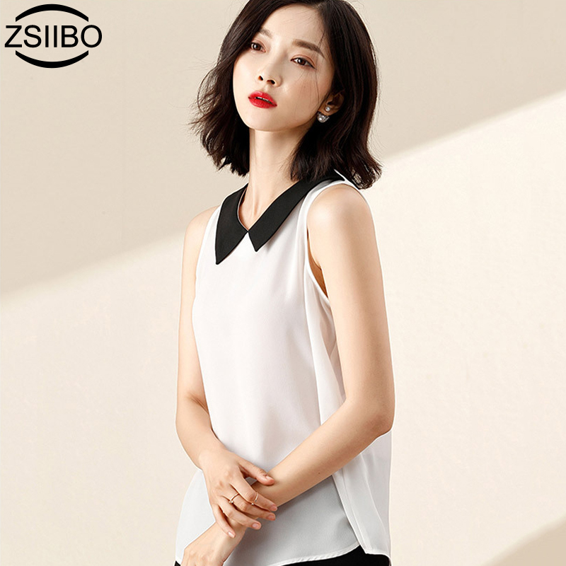 Women blouse 2019 Korean chiffon shirt female doll collar summer loose cover belly sleeveless vest shirt solid plus size tops(China)