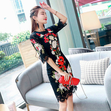 High-quality runway design star wearing spring 2017 new women's round neck embroidery long black lace dress(China)