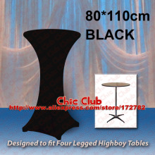 80*110cm Black Stretch Cocktail Poseur Dry Bar Spandex Table Cover for 4 legs highboy tables Cloth Wedding Event Diameter(China)
