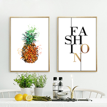 Nordic Style Canvas Print Art Painting Poster Of Watercolor Pineapple,Tropical Fruit And Quote Fashion Wall Pictures,No Frame