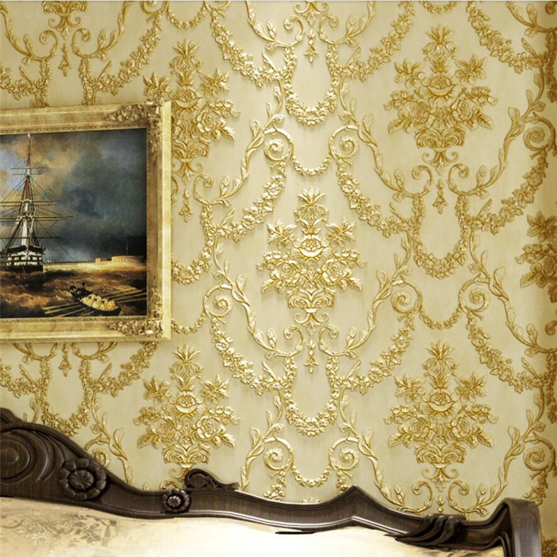beibehang 3D Stereo Carving Wallpaper Vintage Continental AB Edition Bedroom Living Room TV Background Wallpaper Fiber Non woven<br>