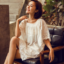 2XL Plus Size Korea Fashion White Lace Vestidos V Neck Floral Hollow Out Loose Women Solid Midi Casual Cotton Top Dress Summer