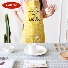 12 Colors Waterproof European Style Apron Pure Cotton Stripe Plaid Cooking Kitchen Apron for Women Gift UIE682(China)