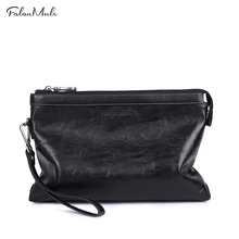 FALAN MULE Famous Brand Male Clutch Genuine Leather Wallet Men Clutch Bag Clutch Male Wallet Luxury Leather Men Wallet