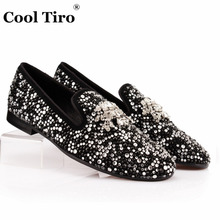 COOL TIRO White Black Rhinestone Tassel Men Loafers Crystals Slippers Smoking Slip-on Shoes Party and Wedding Dress Men's Flats(China)