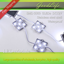 20PCS 5050 5 LED Module DC12V lighting Waterproof Tetragonal Iron shell led modules,white color,20PCS/lot