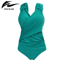 Buy 2018 Sexy V Neck Swimwear Women Plus Size One Piece Swimsuit Swimming Suit Swim Vintage Summer Beachwear Women Bathing Suit