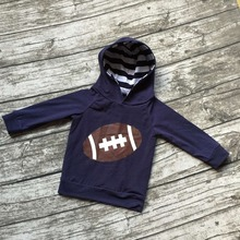 Fall free shipping girls football season clothing baby girls boutique hoodie children navy blue outfits football hoodie top(China)