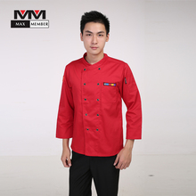 M-3XL Men Oblique Collar Chinese Restaurant Kitchen Chef Uniforms Long-sleeved Double Breasted Work Top Cook Suit Jacket XS007(China)
