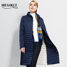 2017 Thin Women Quilted Parkas Long Women Cotton Padded Jacket Spring Windproof Womens Spring Jackets Coats New Design MIEGOFCE(China)