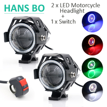2PCS LYLLA 12V 125W Motorcycle U7 LED Headlight 3000LM led DRL Fog Spot Light Lamp Angle Devil Eyes Moto Spotlight Waterproof