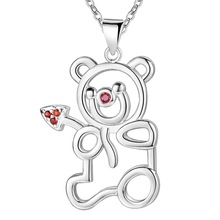 Hot Silver Color Bear Necklace with Pendant zircon cute birthday gift for girls fashion jewelry AN711