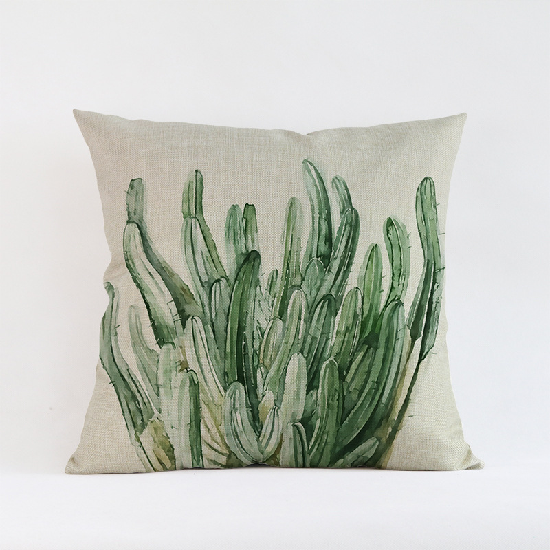 Tropical-Plants-Palm-Leaves-Cactus-Cushion-Pillow-Case-Hand-Painting-Green-Plants-Sofa-Throw-Pillow-Cover (2)