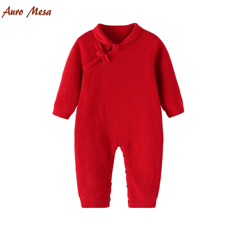 Autumn Winter Chinese Classical style Red baby Rompers Cheongsam Knitting Newborn One-piece Jumpsuits  baby girls Clothes <br>