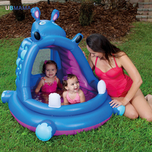 purple hippo shape Plastic Thickening material Awning window Play water play ball Take a bath High quality cute swimming pool(China)