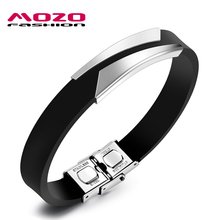 MOZO FASHION Hot Brand Men Bracelet Stainless Steel Silicone Bracelet Rubber Wristband Trendy Men Jewelry Homem Pulseira MPH1106
