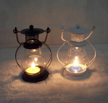 European Garden Glass Iron Lantern Candle Lantern kerosene lamp Home Furnishing decoration creative Candle Holders Candlestick