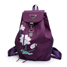 women high quality chinese stylish floral printed purple backpack female cool student small travel backpack lady cool daypack