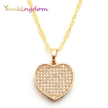 Fashion charms heart necklaces & pendants female blue zircon crystal fashion jewelry christmas gifts(China)