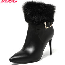 MORAZORA 2018 fashion new arrive women boots pointed toe genuine leather boots zipper fur cow leather ankle boots black(China)