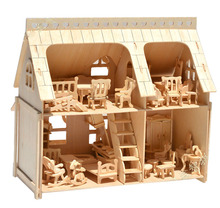Freeshipping Large Porch Full House with Veranda DIY Model 3D Puzzle, with 34 pcs Furnitures 33*30*20