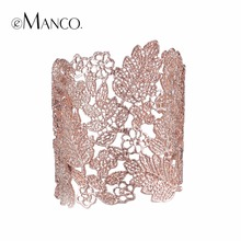 eManco Wide Bracelets for women  Vintage Cuff Adjsutable Lace Plants Skeleton Bracelets & Bangle Women's jewelry 4 colors