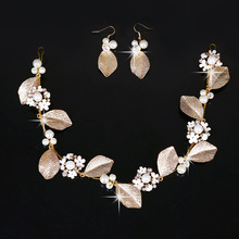 Pearl Tiara Vintage Headdress gold leaves Crown Bridal hairpin Princess Diadem Hair Jewelry Gift Wedding Dress Accessories Set